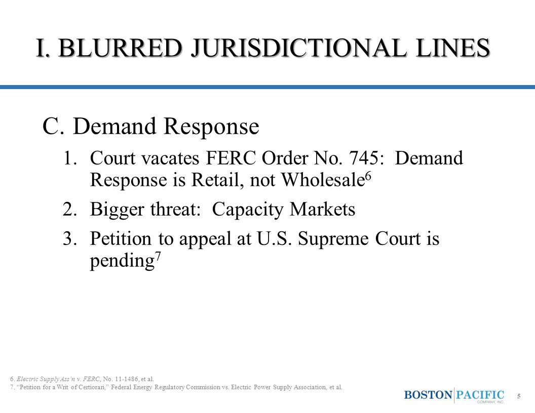 I. BLURRED JURISDICTIONAL LINES C.Demand Response 1.Court vacates FERC Order No.