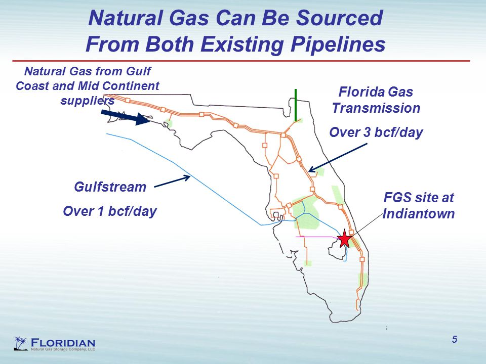 5 Natural Gas Can Be Sourced From Both Existing Pipelines 5 FGS site at Indiantown Natural Gas from Gulf Coast and Mid Continent suppliers Florida Gas Transmission Over 3 bcf/day Gulfstream Over 1 bcf/day