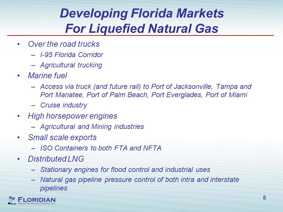 Developing Florida Markets For Liquefied Natural Gas Over the road trucks –I-95 Florida Corridor –Agricultural trucking Marine fuel –Access via truck (and future rail) to Port of Jacksonville, Tampa and Port Manatee, Port of Palm Beach, Port Everglades, Port of Miami –Cruise industry High horsepower engines –Agricultural and Mining industries Small scale exports –ISO Containers to both FTA and NFTA Distributed LNG –Stationary engines for flood control and industrial uses –Natural gas pipeline pressure control of both intra and interstate pipelines 8