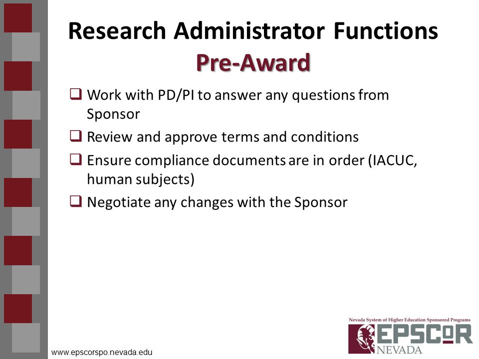 www.epscorspo.nevada.edu Pre-Award Research Administrator Functions Pre-Award  Work with PD/PI to answer any questions from Sponsor  Review and approve terms and conditions  Ensure compliance documents are in order (IACUC, human subjects)  Negotiate any changes with the Sponsor