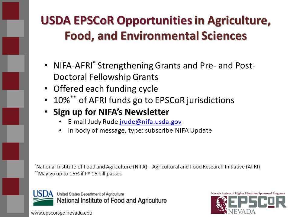 www.epscorspo.nevada.edu USDA EPSCoR Opportunities in Agriculture, Food, and Environmental Sciences NIFA-AFRI * Strengthening Grants and Pre- and Post- Doctoral Fellowship Grants Offered each funding cycle 10% ** of AFRI funds go to EPSCoR jurisdictions Sign up for NIFA's Newsletter E-mail Judy Rude jrude@nifa.usda.govjrude@nifa.usda.gov In body of message, type: subscribe NIFA Update * National Institute of Food and Agriculture (NIFA) – Agricultural and Food Research Initiative (AFRI) ** May go up to 15% if FY 15 bill passes