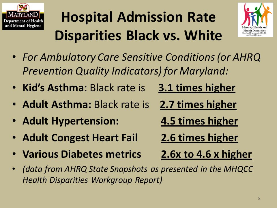 Cost of Disparities in Maryland Minority Health Disparities cost Maryland between 1 and 2 Billion Dollars per year of direct medical costs.