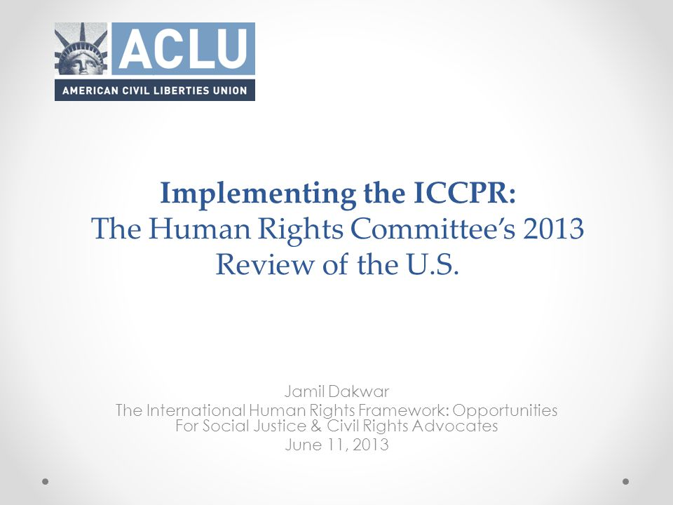 Adoption of the List of Issues by Human Rights Committee: Geneva March 20 : Human Rights Committee adopted a list of issues for the U.S.