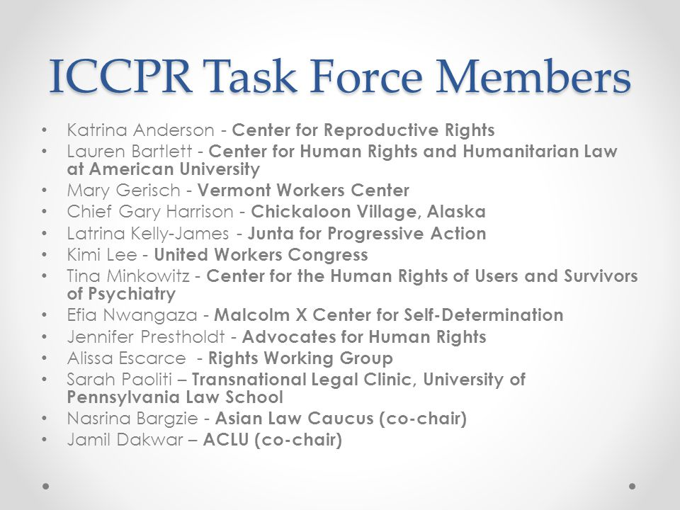 ICCPR Task Force Members Katrina Anderson - Center for Reproductive Rights Lauren Bartlett - Center for Human Rights and Humanitarian Law at American