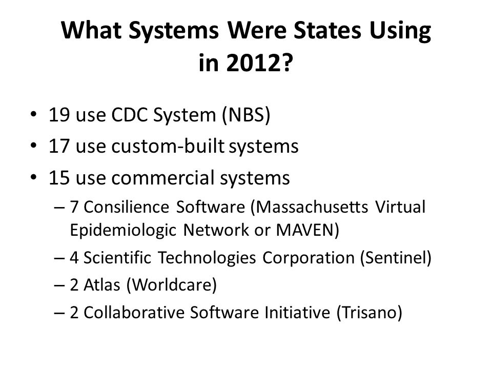 What Systems Were States Using in 2012.
