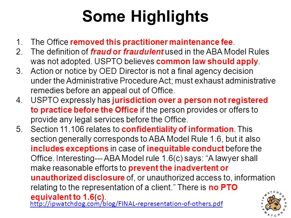 USPTO Defines Misconduct http://ipwatchdog.com/blog/FINAL-representation-of-others.pdf