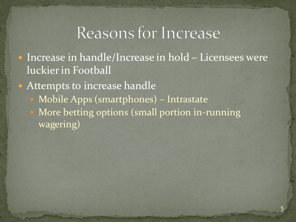 Increase in handle/Increase in hold – Licensees were luckier in Football Attempts to increase handle Mobile Apps (smartphones) – Intrastate More betti