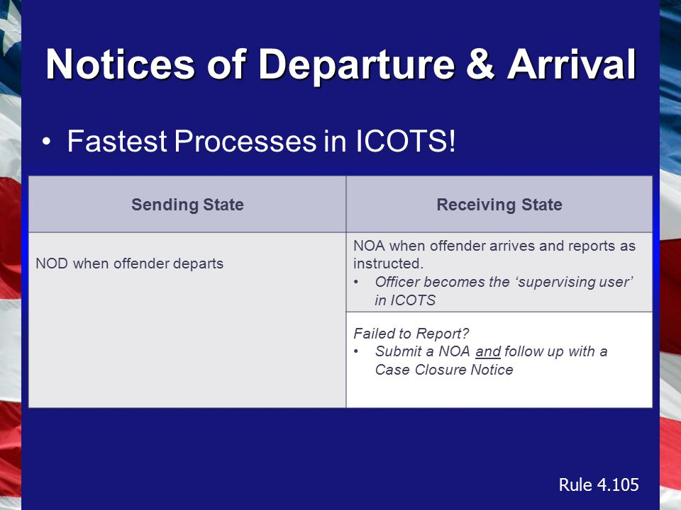 Notices of Departure & Arrival Fastest Processes in ICOTS.