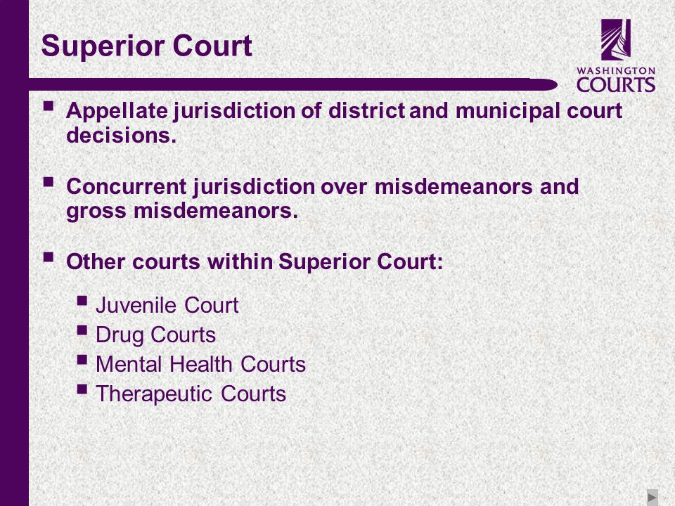 c Superior Court  Appellate jurisdiction of district and municipal court decisions.