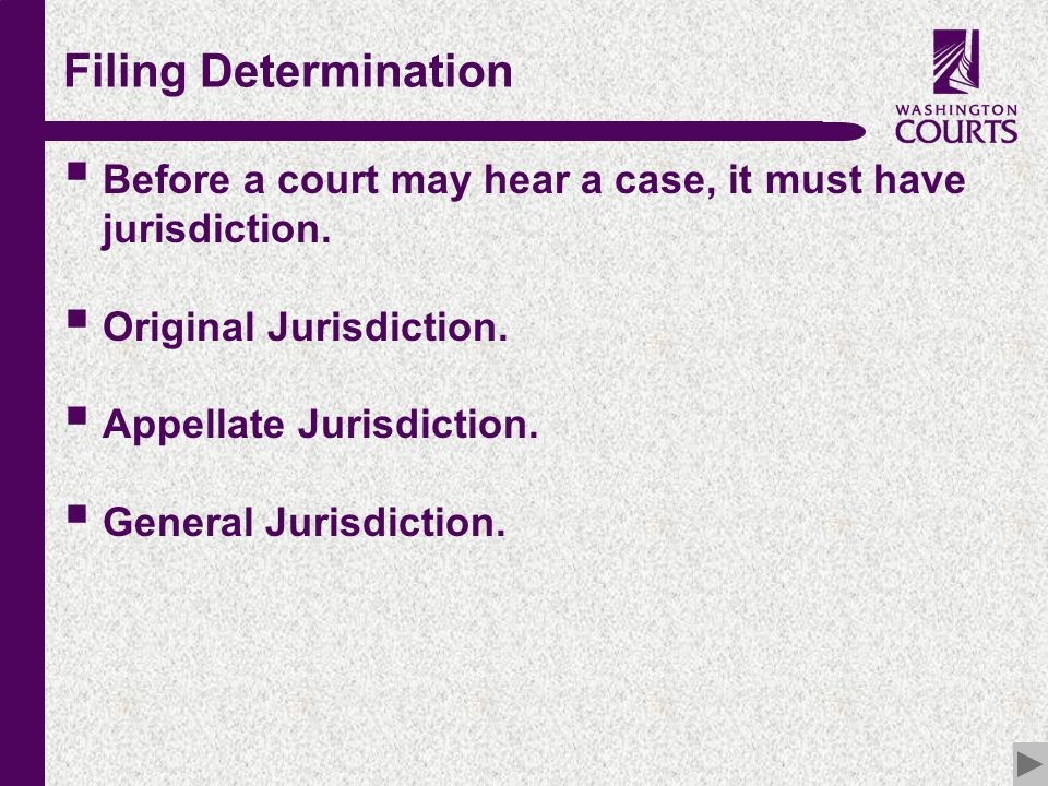 c Filing Determination  Before a court may hear a case, it must have jurisdiction.