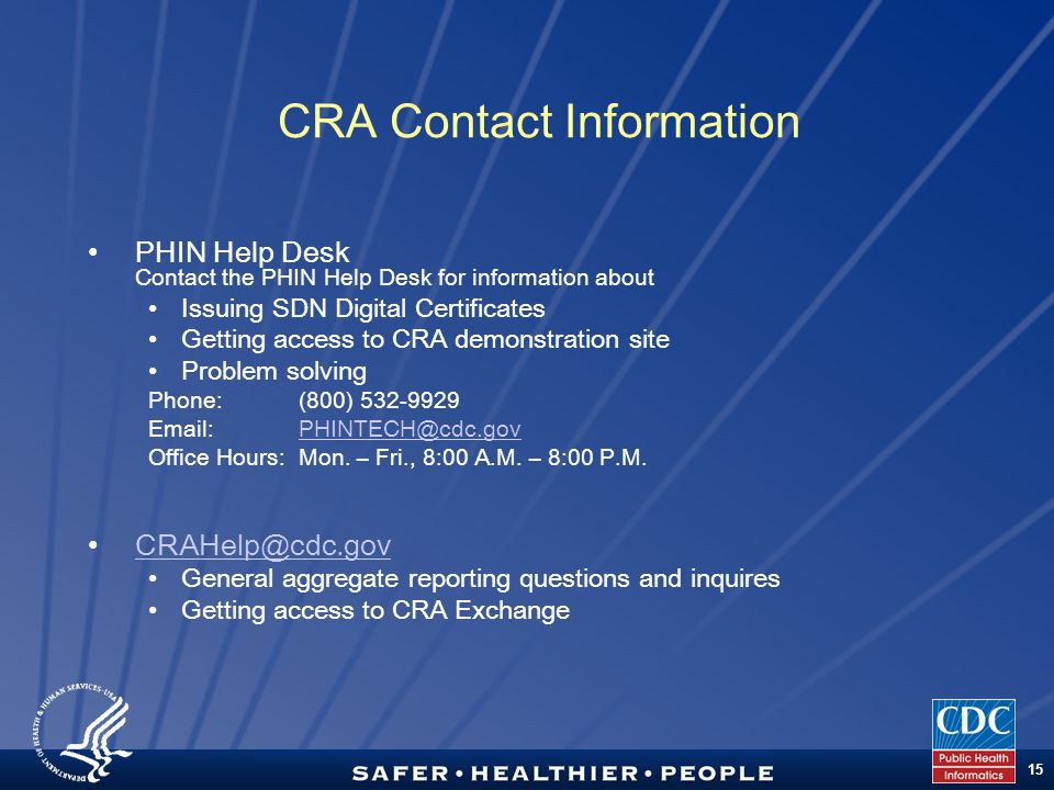 TM 15 CRA Contact Information PHIN Help Desk Contact the PHIN Help Desk for information about Issuing SDN Digital Certificates Getting access to CRA d