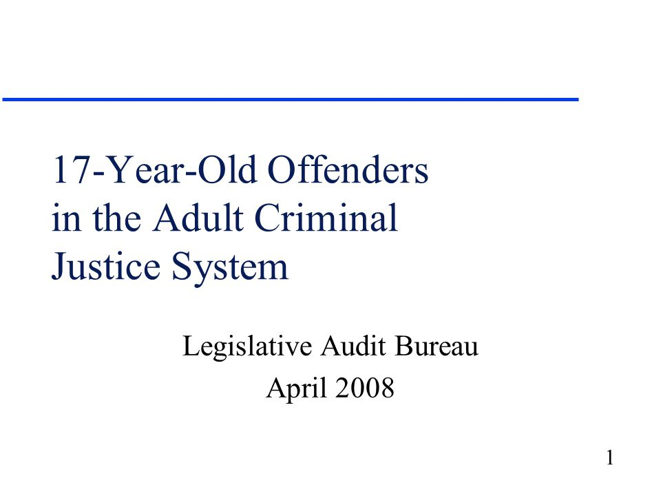 1 17-Year-Old Offenders in the Adult Criminal Justice System Legislative Audit Bureau April 2008