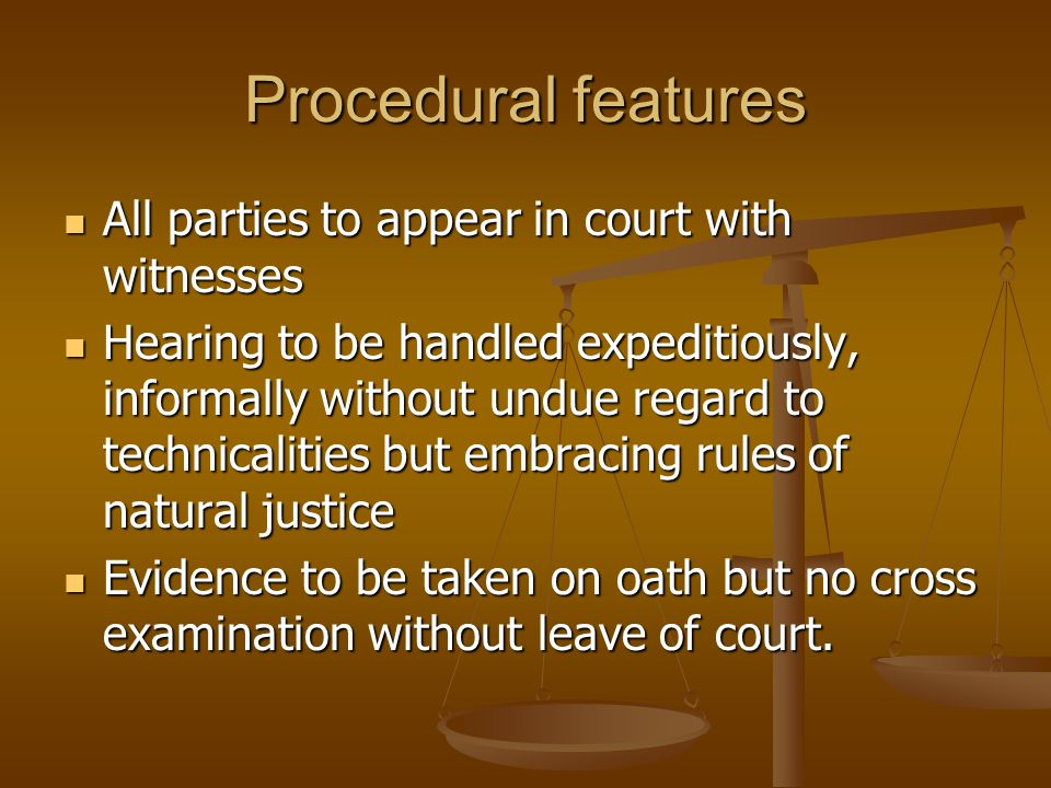 All parties to appear in court with witnesses All parties to appear in court with witnesses Hearing to be handled expeditiously, informally without un