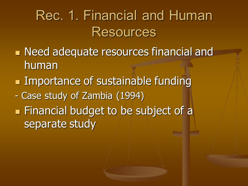 Rec. 1. Financial and Human Resources Need adequate resources financial and human Need adequate resources financial and human Importance of sustainabl