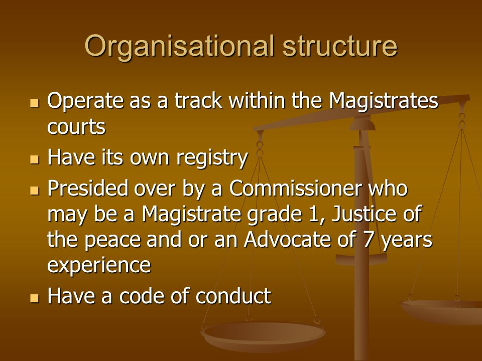 Organisational structure Operate as a track within the Magistrates courts Operate as a track within the Magistrates courts Have its own registry Have