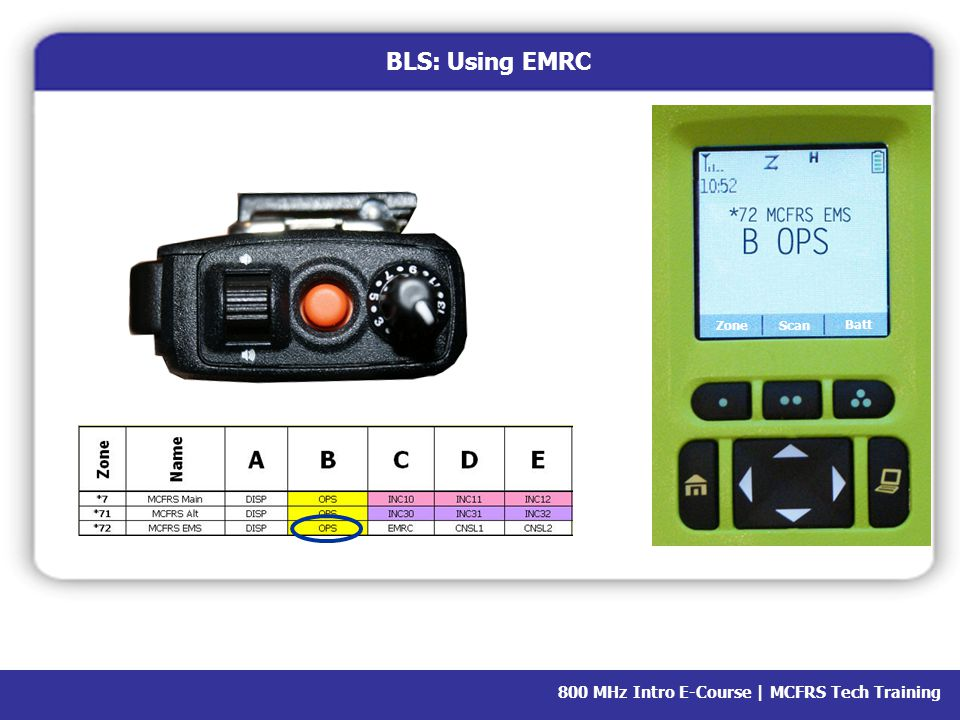 800 MHz Intro E-Course | MCFRS Tech Training BLS: Using EMRC EMRC: Emergency Medical Resource Center (Baltimore) EMRC is used to: Arrange a consult Determine hospital status Reach hospital personnel who aren't responding