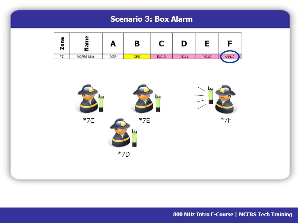 800 MHz Intro E-Course | MCFRS Tech Training Scenario 3: Box Alarm ZoneScan Batt