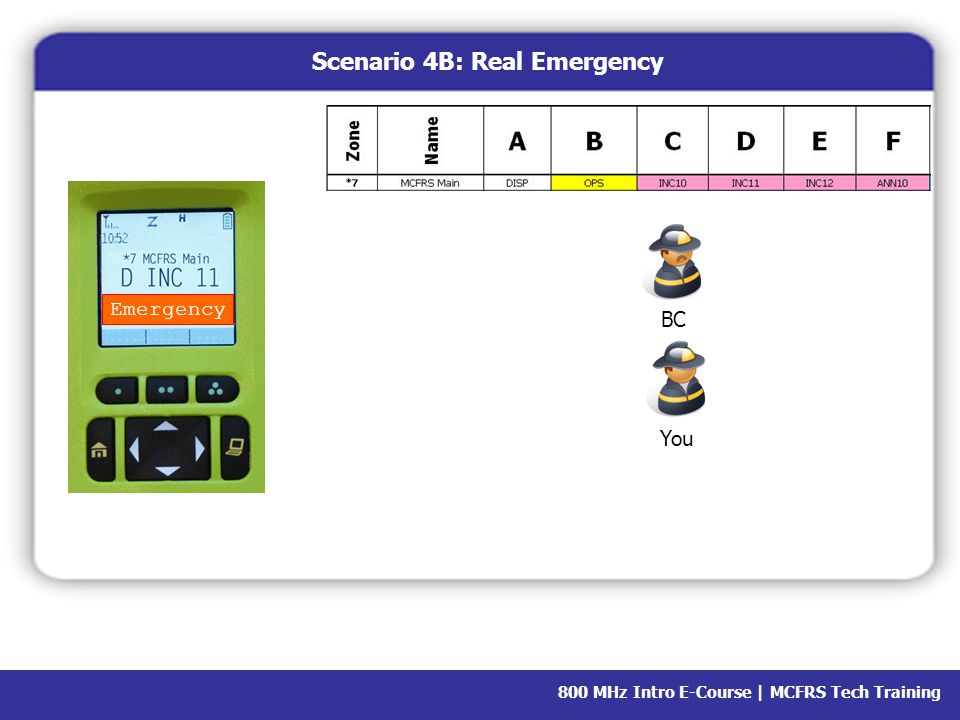 800 MHz Intro E-Course | MCFRS Tech Training Emergency You BC Scenario 4B: Real Emergency