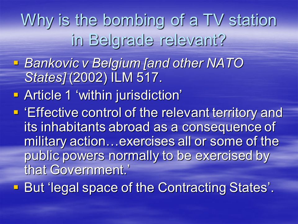 Why is the bombing of a TV station in Belgrade relevant.