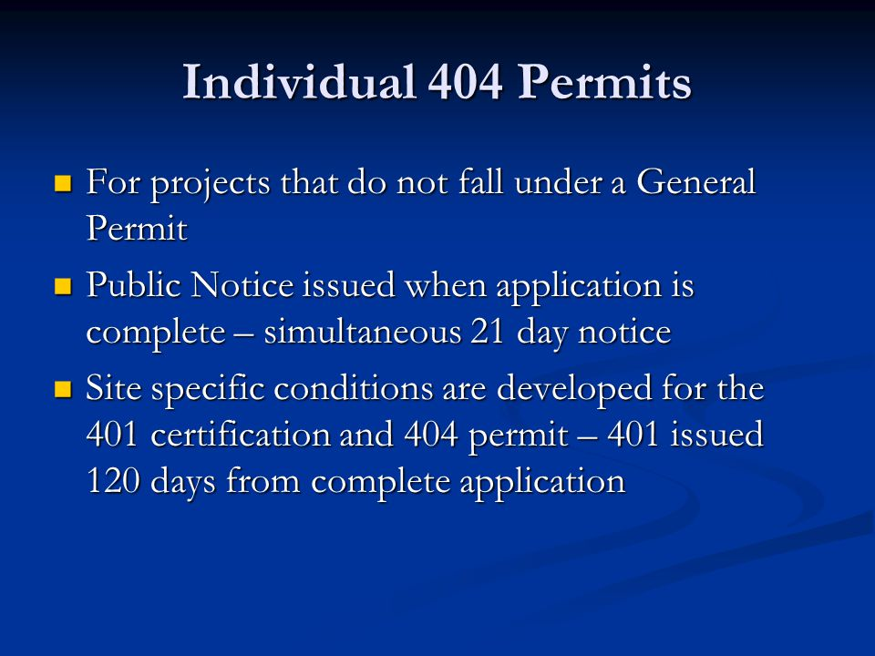 404 Permitting/401 Certification for Coal Mining Activities Formerly permitted under Corps Nationwide 21 with no additional Indiana conditions for 401 Formerly permitted under Corps Nationwide 21 with no additional Indiana conditions for 401 Attempted to develop Indiana Regional General Permit Attempted to develop Indiana Regional General Permit Currently Individual Permits are required, but IDEM is working with Indiana Coal Council on template for 401 conditions Currently Individual Permits are required, but IDEM is working with Indiana Coal Council on template for 401 conditions
