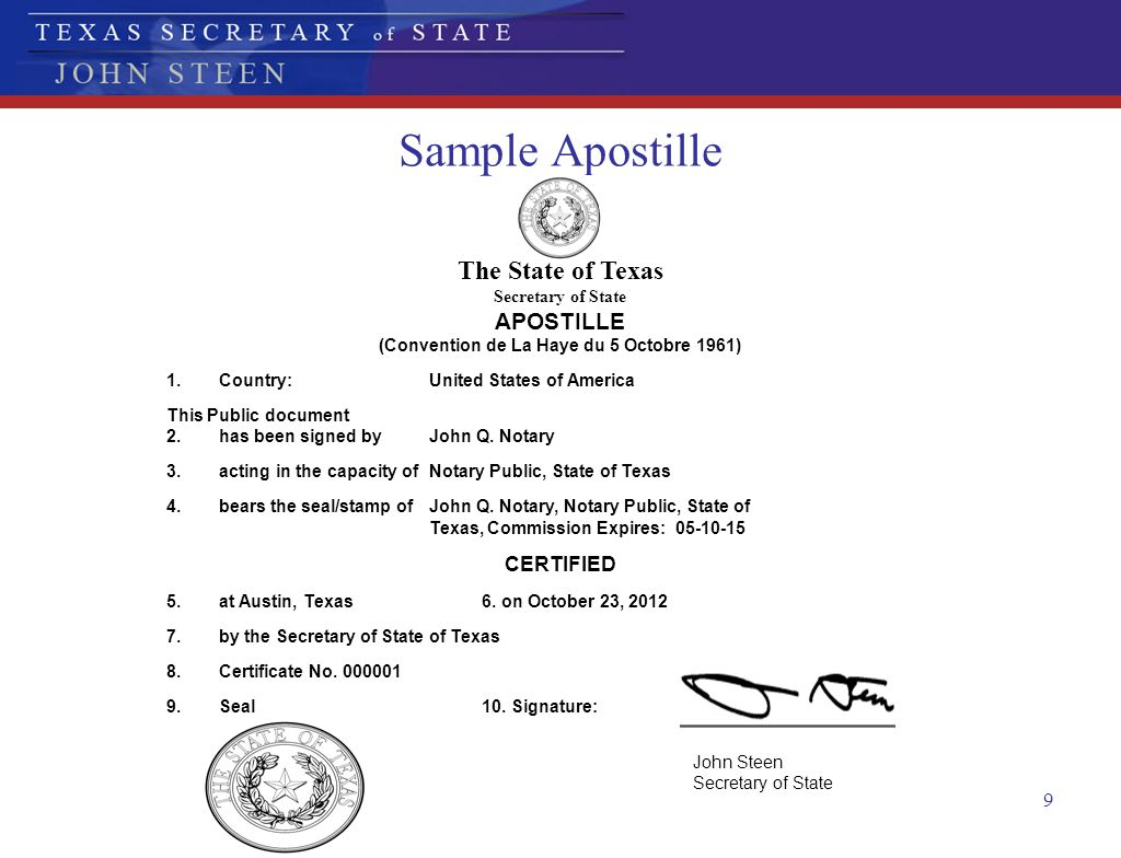 9 Sample Apostille The State of Texas Secretary of State APOSTILLE (Convention de La Haye du 5 Octobre 1961) 1.Country:United States of America This P
