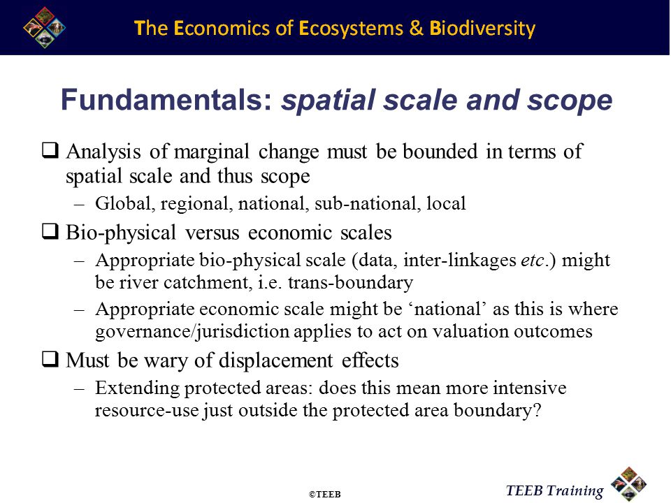 TEEB Training Fundamentals: spatial scale and scope  Analysis of marginal change must be bounded in terms of spatial scale and thus scope –Global, regional, national, sub-national, local  Bio-physical versus economic scales –Appropriate bio-physical scale (data, inter-linkages etc.) might be river catchment, i.e.