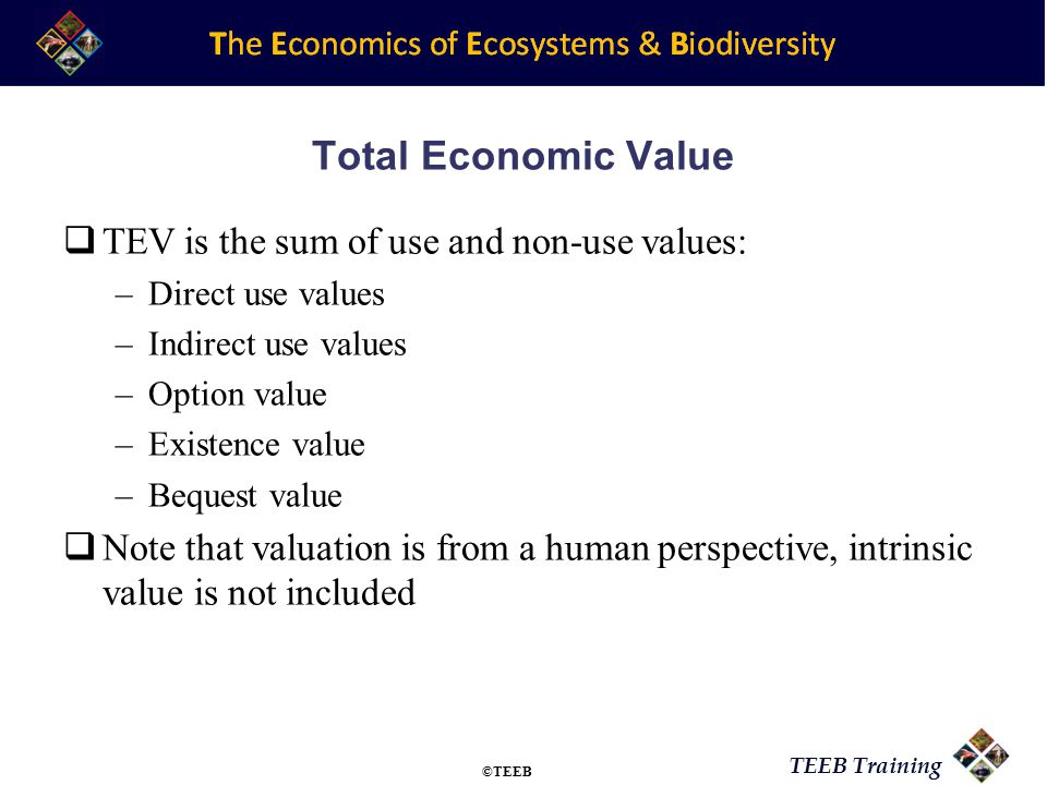 TEEB Training Total Economic Value  TEV is the sum of use and non-use values: –Direct use values –Indirect use values –Option value –Existence value –Bequest value  Note that valuation is from a human perspective, intrinsic value is not included ©TEEB
