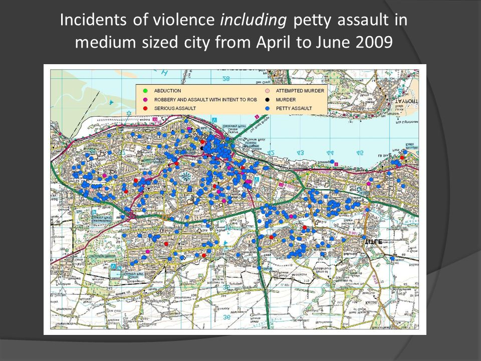 Incidents of violence including petty assault in medium sized city from April to June 2009