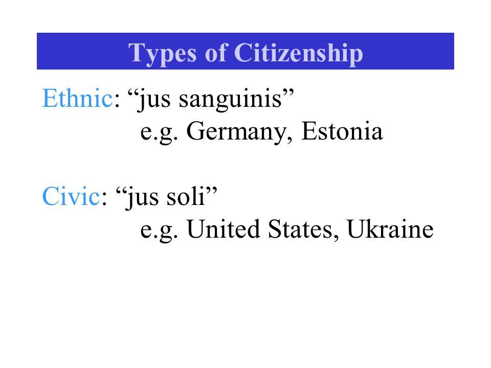 "Types of Citizenship Ethnic: ""jus sanguinis"" e.g. Germany, Estonia Civic: ""jus soli"" e.g. United States, Ukraine"