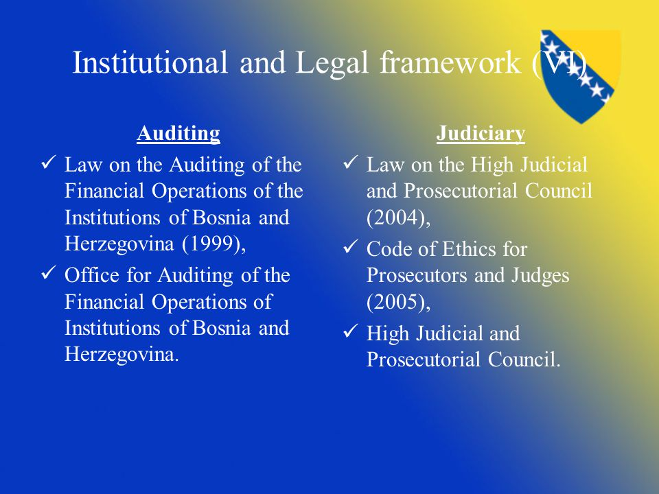 Institutional and Legal framework (VI) Auditing Law on the Auditing of the Financial Operations of the Institutions of Bosnia and Herzegovina (1999),