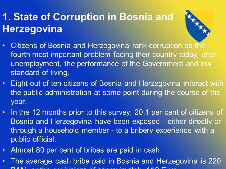 1. State of Corruption in Bosnia and Herzegovina Citizens of Bosnia and Herzegovina rank corruption as the fourth most important problem facing their