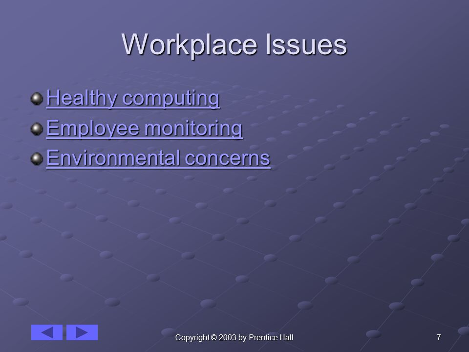 7Copyright © 2003 by Prentice Hall Workplace Issues Healthy computing Healthy computing Employee monitoring Employee monitoring Environmental concerns Environmental concerns