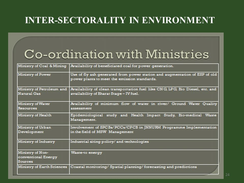 INTER-SECTORALITY IN ENVIRONMENT 24