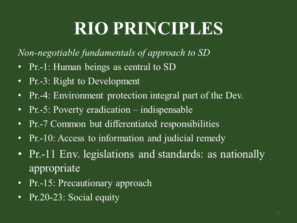 RIO PRINCIPLES Non-negotiable fundamentals of approach to SD Pr.-1: Human beings as central to SD Pr.-3: Right to Development Pr.-4: Environment protection integral part of the Dev.