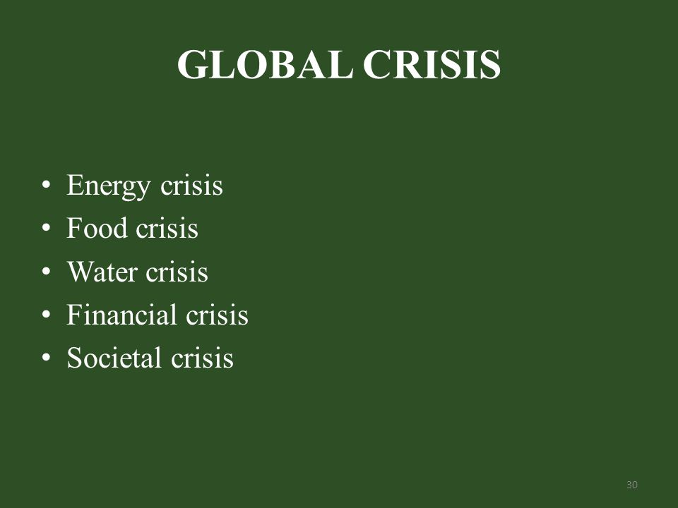 GLOBAL CRISIS Energy crisis Food crisis Water crisis Financial crisis Societal crisis 30