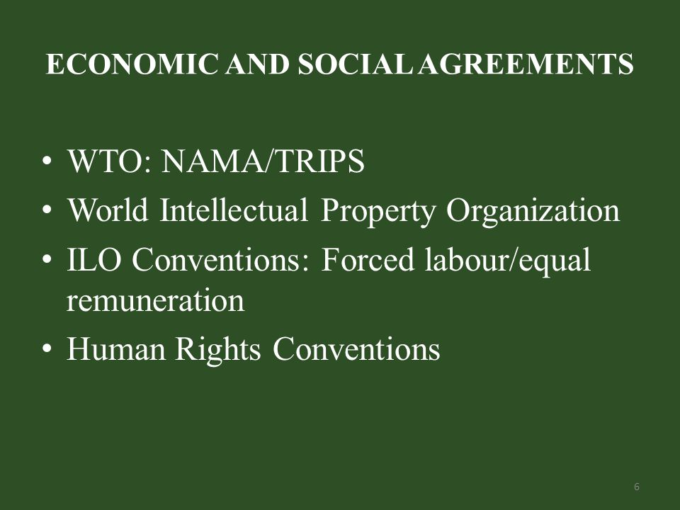 ECONOMIC AND SOCIAL AGREEMENTS WTO: NAMA/TRIPS World Intellectual Property Organization ILO Conventions: Forced labour/equal remuneration Human Rights Conventions 6