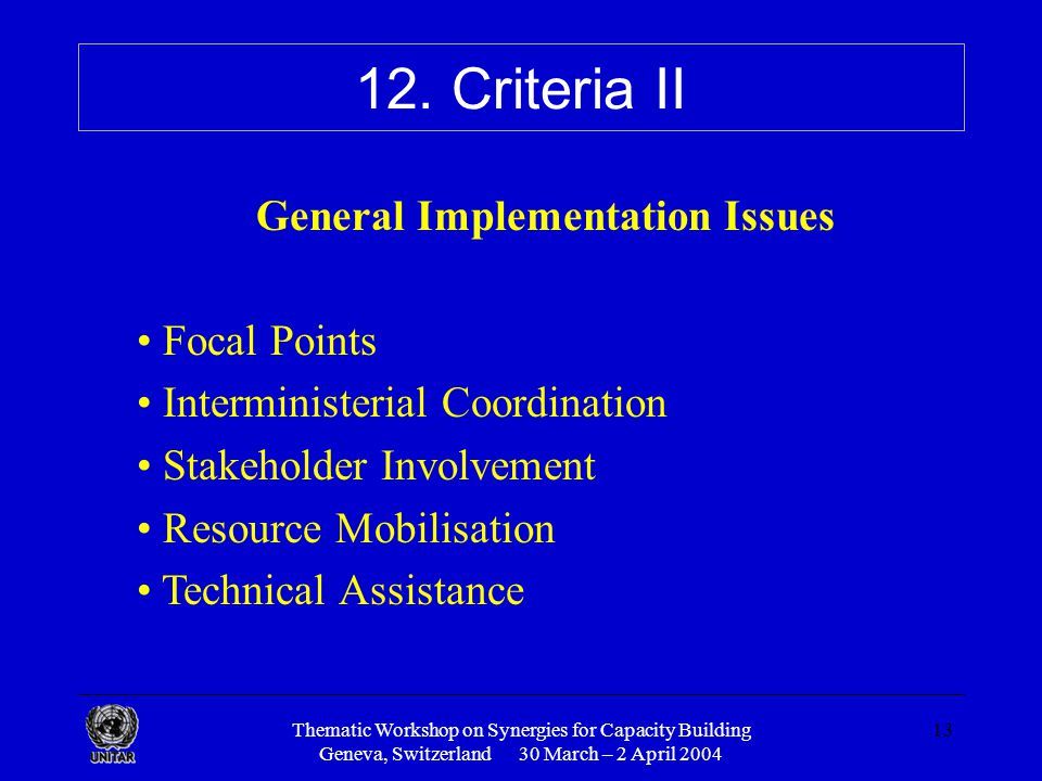Thematic Workshop on Synergies for Capacity Building Geneva, Switzerland 30 March – 2 April 2004 13 12.