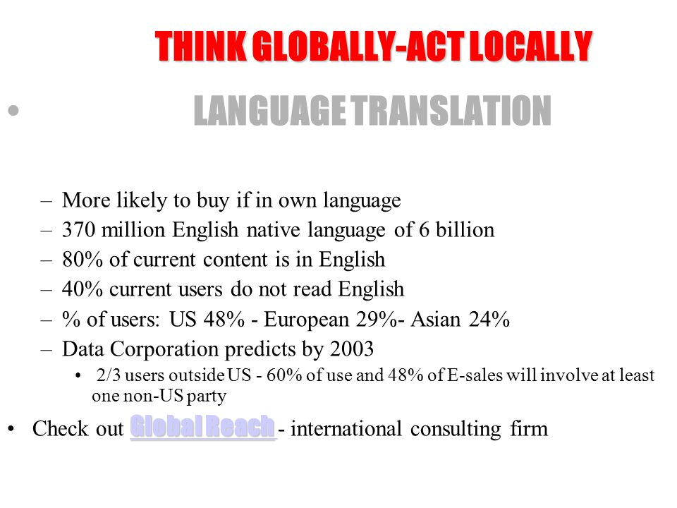 Source: Global Search WHILE DECREASING 70% SITES STILL ENGLISH 43%57% BUT CONSIDER USERS: 43% ENGLISH 57% NON-ENGLISH