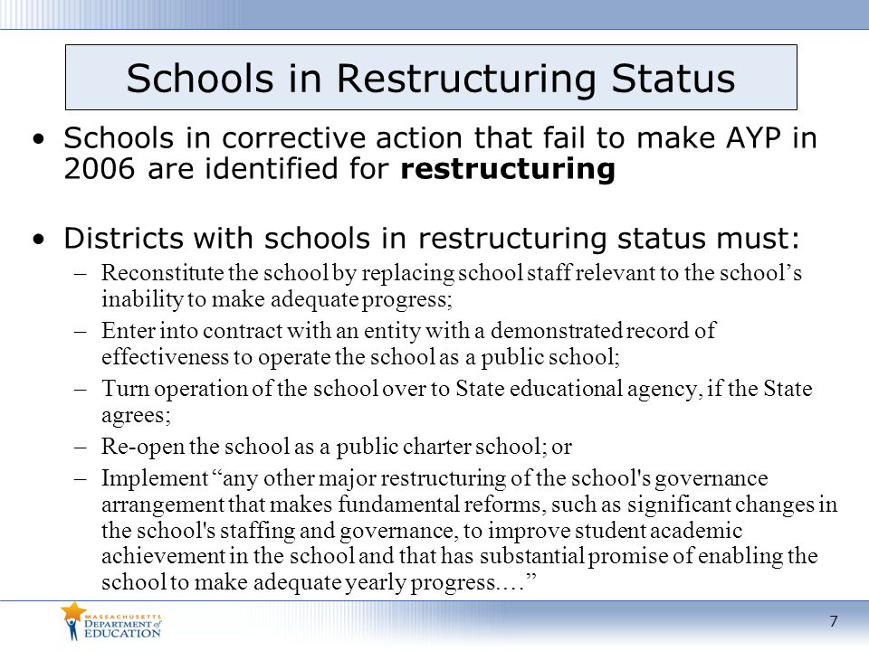 Schools in Restructuring Status Schools in corrective action that fail to make AYP in 2006 are identified for restructuring Districts with schools in restructuring status must: –Reconstitute the school by replacing school staff relevant to the school's inability to make adequate progress; –Enter into contract with an entity with a demonstrated record of effectiveness to operate the school as a public school; –Turn operation of the school over to State educational agency, if the State agrees; –Re-open the school as a public charter school; or –Implement any other major restructuring of the school s governance arrangement that makes fundamental reforms, such as significant changes in the school s staffing and governance, to improve student academic achievement in the school and that has substantial promise of enabling the school to make adequate yearly progress.… 7