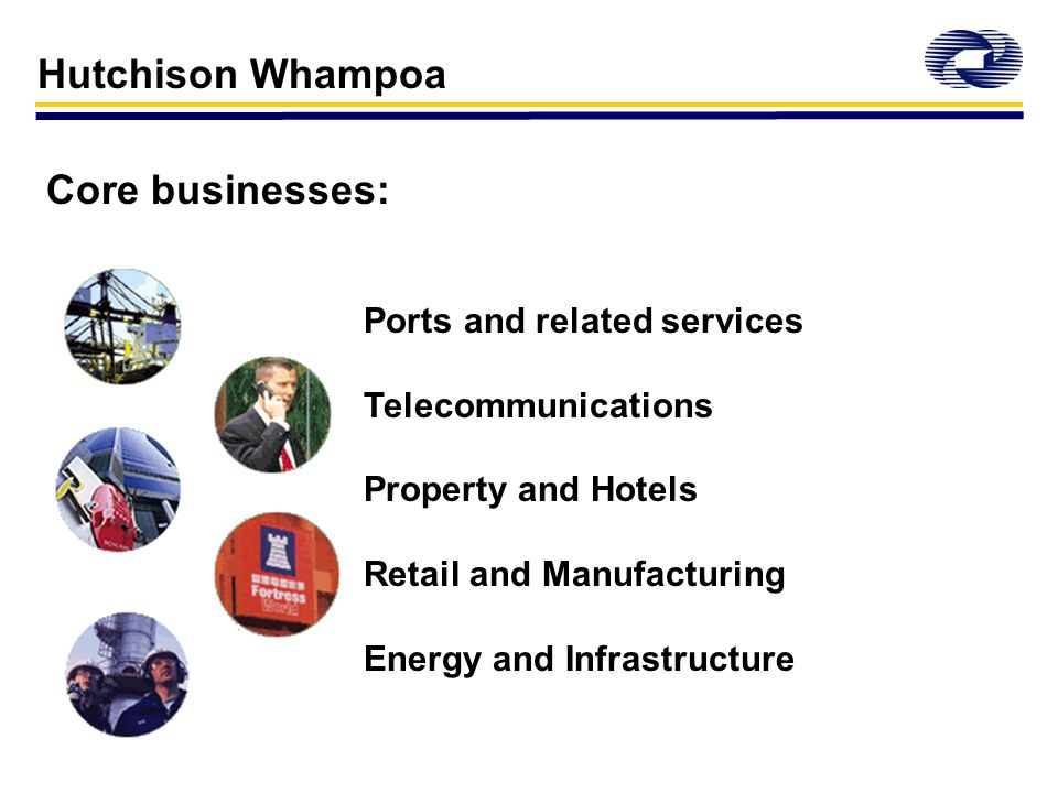 Hutchison Whampoa Core businesses: Ports and related services Telecommunications Property and Hotels Retail and Manufacturing Energy and Infrastructure