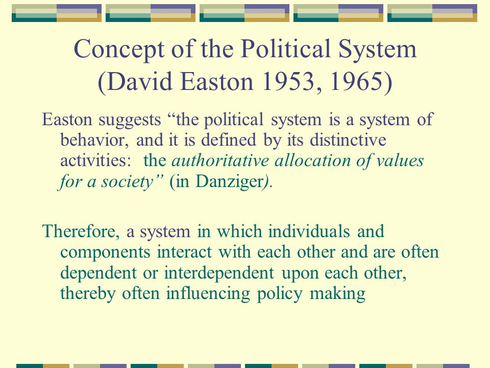 Easton's Conceptualization of the Political System Easton's Political System Model is.
