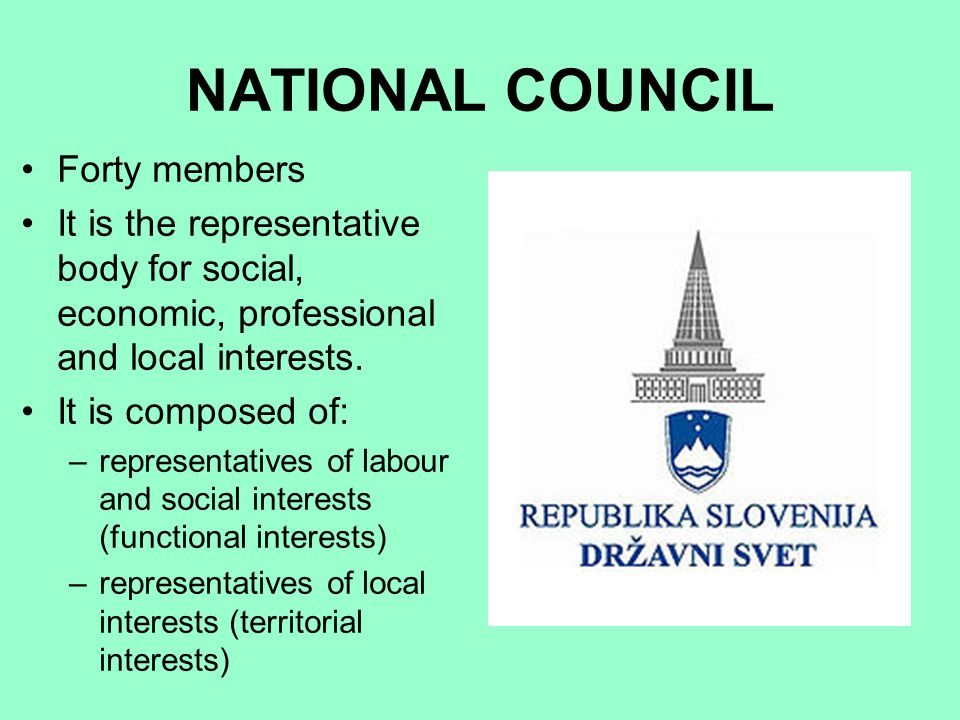 NATIONAL COUNCIL Forty members It is the representative body for social, economic, professional and local interests. It is composed of: –representativ