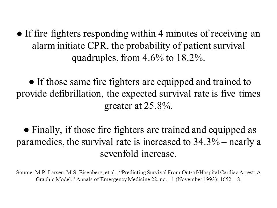 ● If fire fighters responding within 4 minutes of receiving an alarm initiate CPR, the probability of patient survival quadruples, from 4.6% to 18.2%.