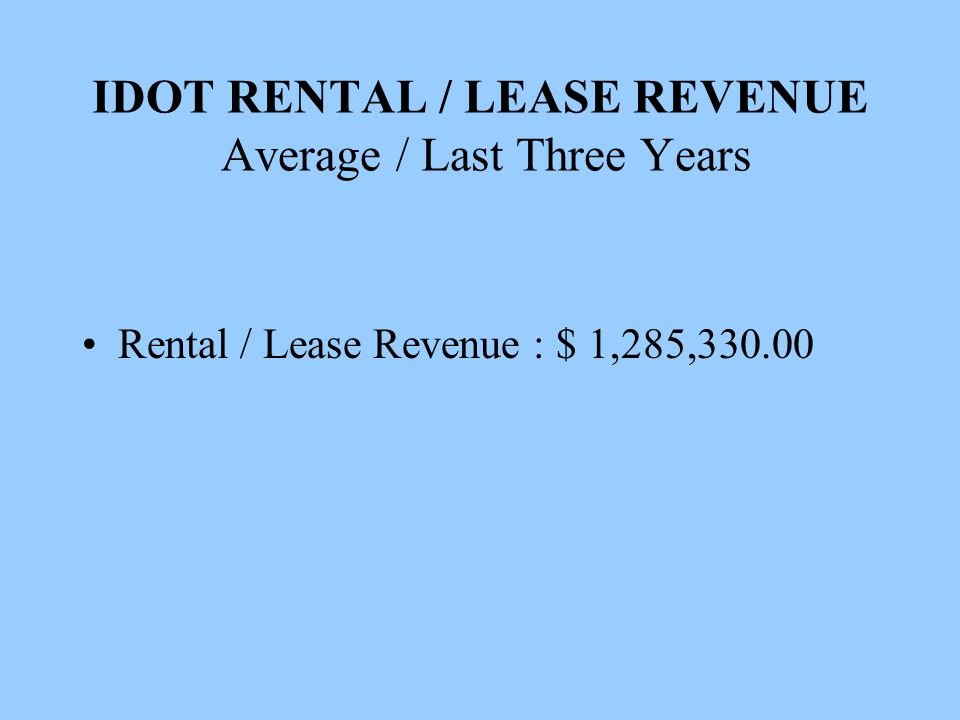 IDOT RENTAL / LEASE REVENUE Average / Last Three Years Rental / Lease Revenue : $ 1,285,330.00