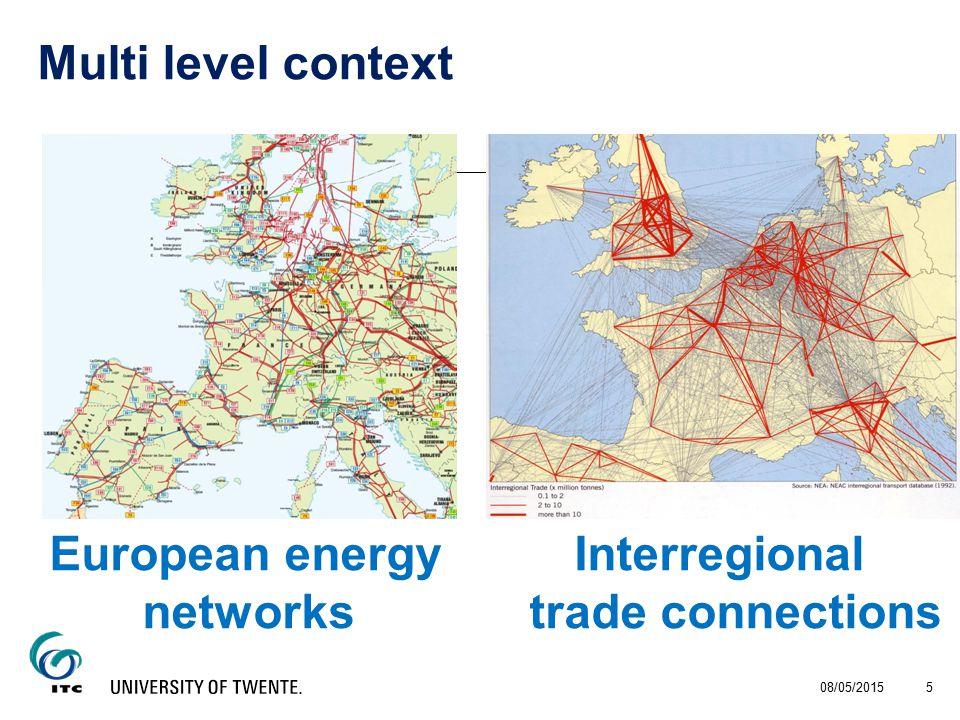 European energy Interregional networkstrade connections 08/05/2015 5 Multi level context