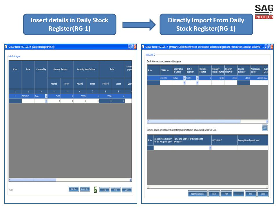 Insert details in Daily Stock Register(RG-1) Directly Import From Daily Stock Register(RG-1)