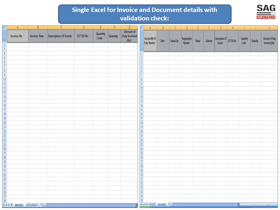 Single Excel for Invoice and Document details with validation check: