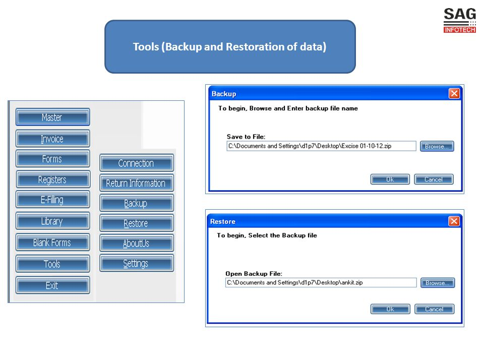 Tools (Backup and Restoration of data)