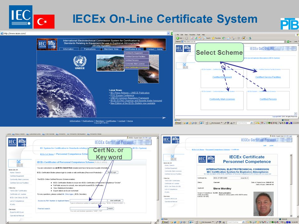 14 IECEx On-Line Certificate System Select Scheme Cert No. or Key word