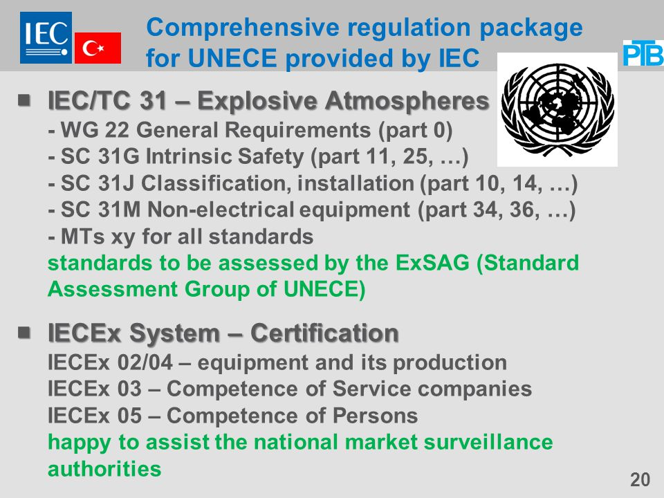 Comprehensive regulation package for UNECE provided by IEC  IEC/TC 31 – Explosive Atmospheres  IEC/TC 31 – Explosive Atmospheres - WG 22 General Requirements (part 0) - SC 31G Intrinsic Safety (part 11, 25, …) - SC 31J Classification, installation (part 10, 14, …) - SC 31M Non-electrical equipment (part 34, 36, …) - MTs xy for all standards standards to be assessed by the ExSAG (Standard Assessment Group of UNECE)  IECEx System – Certification  IECEx System – Certification IECEx 02/04 – equipment and its production IECEx 03 – Competence of Service companies IECEx 05 – Competence of Persons happy to assist the national market surveillance authorities 20